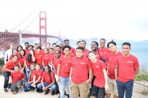 The Stanford Squad at the Golden Gate Bridge on their outing in San Francisco