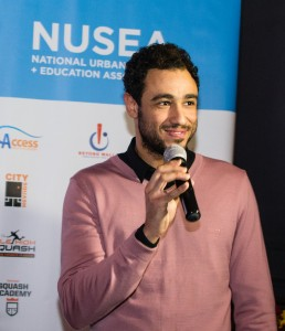 Honored guest and squash World No. 1 Ramy Ashour