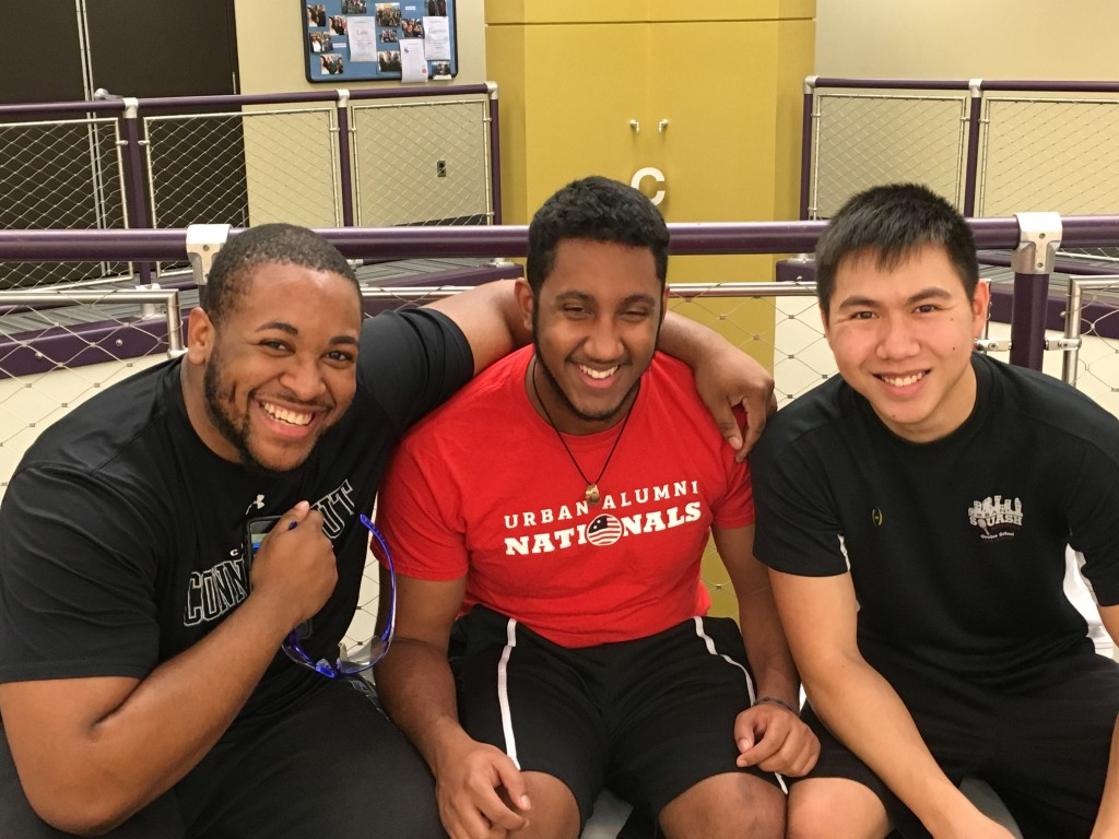 SquashBusters alumni Randy Coplin, Aaron Coss, and Steven Vo joined in on the December 3 Boston Alumni Hit-around