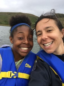 Next picture is of me and Shyuan (8th grader) out on a boat in Tamales Bay, courtesy of one of our Board members