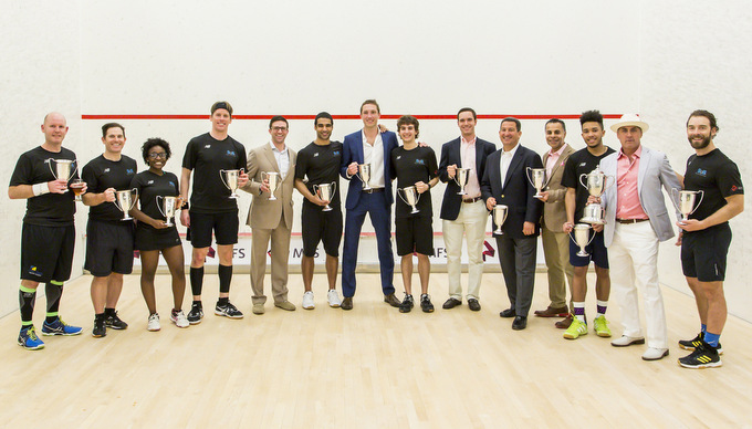 Left to Right: Dan Sharplin (Squash Professional), Chandler Willett, Jennifer Mbah (SQB #1 Female), Charlie Humber, Jon Hyett (SquashBusters Board Member), Justin Singh, Dan Roberts (Squash Professional), Jean Paul Morais, Steve Wetherill, Rob Manning (CEO of MFS Investments), Amrit Kanwal (CFO of MFS Investments), Edward Arias-Diaz (SquashBusters #1 Male), David Drubner (SquashBusters Board Member), Tucker Jones